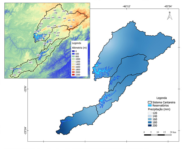 Figura 1. Precipitação observada acumulada (em mm) nos pluviômetros do CEMADEN e DAEE/SAISP nas sub-bacias de captação do Sistema Cantareira (contornos em preto). As cores da figura maior representam a precipitação acumulada no mês e as cores da figura menor representam as alturas topográficas com relação ao nível do mar de acordo com a escala. (s/d) indica pluviômetro sem dados.