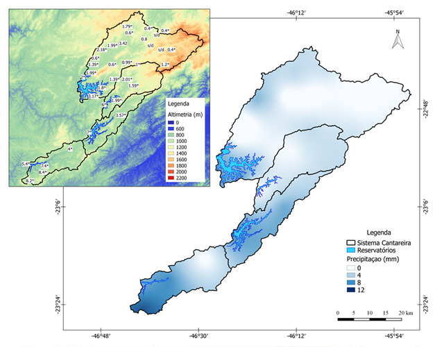 Figura 1. Precipitação observada acumulada (em mm) nos pluviômetros do CEMADEN e DAEE/SAISP nas sub-bacias de captação do Sistema Cantareira (contornos em preto). As cores representam alturas topográficas com relação ao nível do mar de acordo com a escala da direita. (*) pluviômetros sem dados em alguns dias. (s/d) indica pluviômetro sem dados.