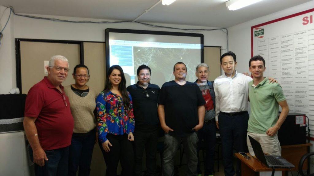 Equipes do Cemaden, Defesa  Civil, Cenad e Jica, na  2a Reunião Técnica do Projeto Gides, realizada nos dias 14 e 15 em Nova Friburgo (RJ).